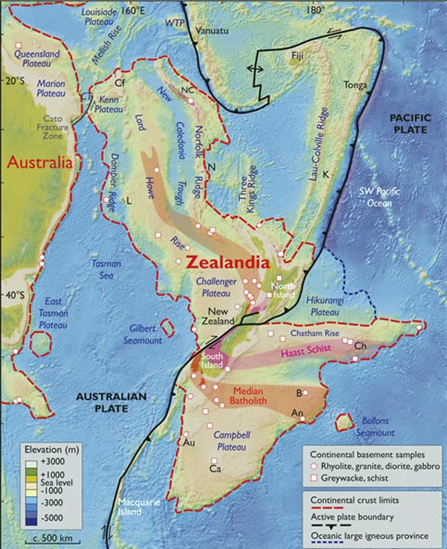 Carte du continent englouti Zealandia.