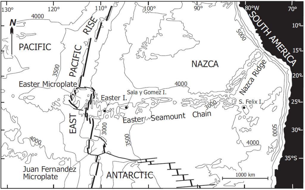 Localisation de l'île de Pâques.