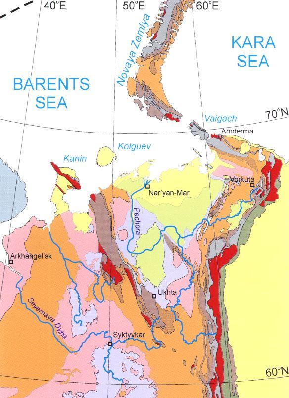 Carte géologique de la Russie européenne.